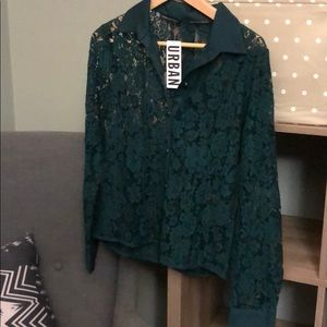NWT dark green lace blouse from Urban Outfitters
